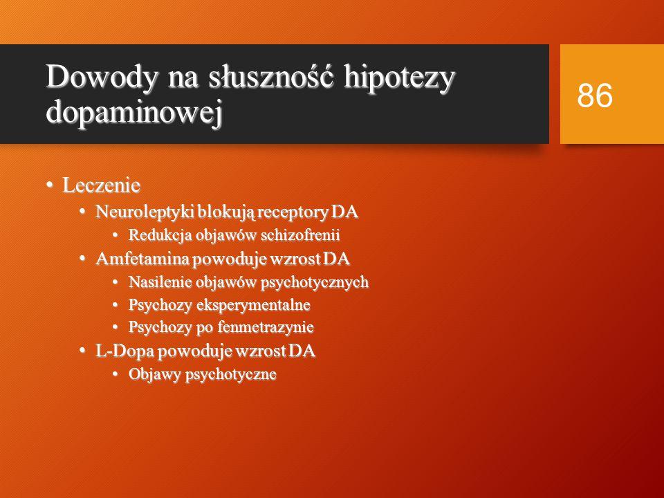 Czynniki etiologiczne schizofrenii Hipoteza dopaminowa Hipoteza dopaminowa Nadaktywność dopaminowa --> schizofrenia Nadaktywność dopaminowa --> schizofrenia Wysokie poziomy DA Wysokie poziomy DA Więcej receptorów DA Więcej receptorów DA Większa czułość receptorów DA Większa czułość receptorów DA 85