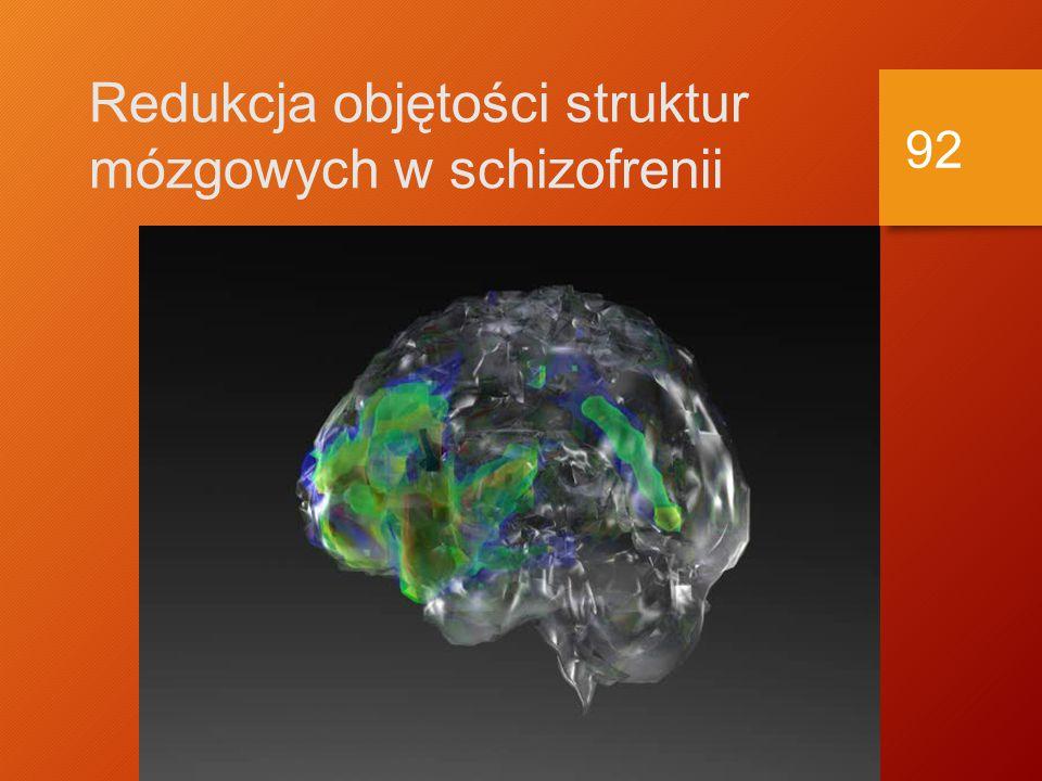 Czynniki biologiczne w etiologii schizofrenii Struktury mózgu Struktury mózgu Powiększenie komór Powiększenie komór 20-25% pacjentów ze schizofrenią 20-25% pacjentów ze schizofrenią Więcej objawów negatywnych, bardziej przewlekły przebieg Więcej objawów negatywnych, bardziej przewlekły przebieg Ale, powiększenie komór występuje w również w innych chorobach Ale, powiększenie komór występuje w również w innych chorobach 91