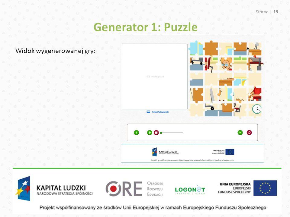 Storna | 19 Widok wygenerowanej gry: Generator 1: Puzzle