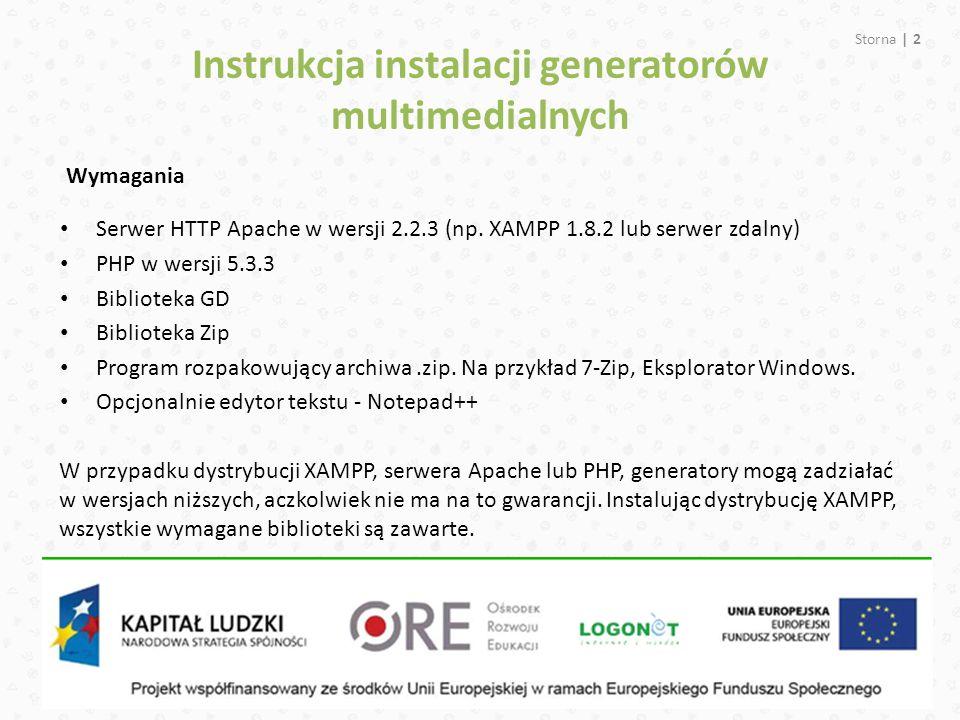 Instrukcja instalacji generatorów multimedialnych Serwer HTTP Apache w wersji 2.2.3 (np.
