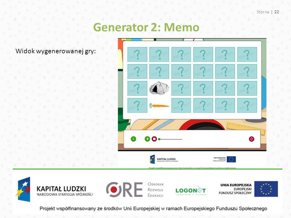Storna | 22 Widok wygenerowanej gry: Generator 2: Memo