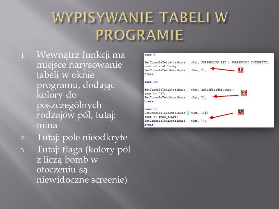 1. Wewnątrz funkcji ma miejsce narysowanie tabeli w oknie programu, dodając kolory do poszczególnych rodzajów pól, tutaj: mina 2. Tutaj: pole nieodkry