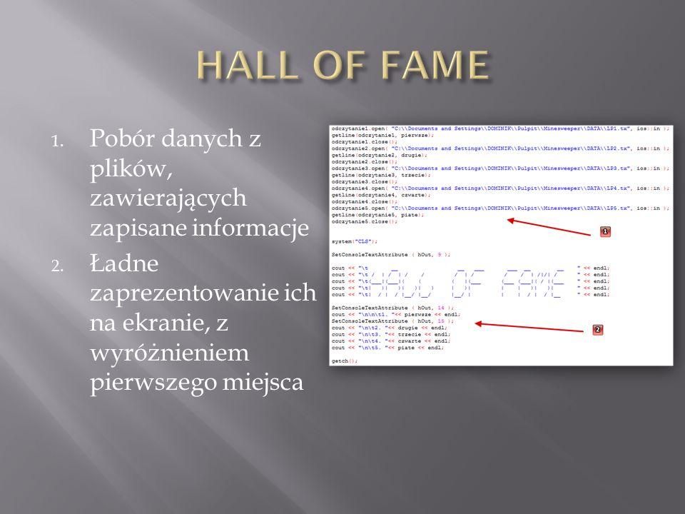 1. Pobór danych z plików, zawierających zapisane informacje 2. Ładne zaprezentowanie ich na ekranie, z wyróżnieniem pierwszego miejsca