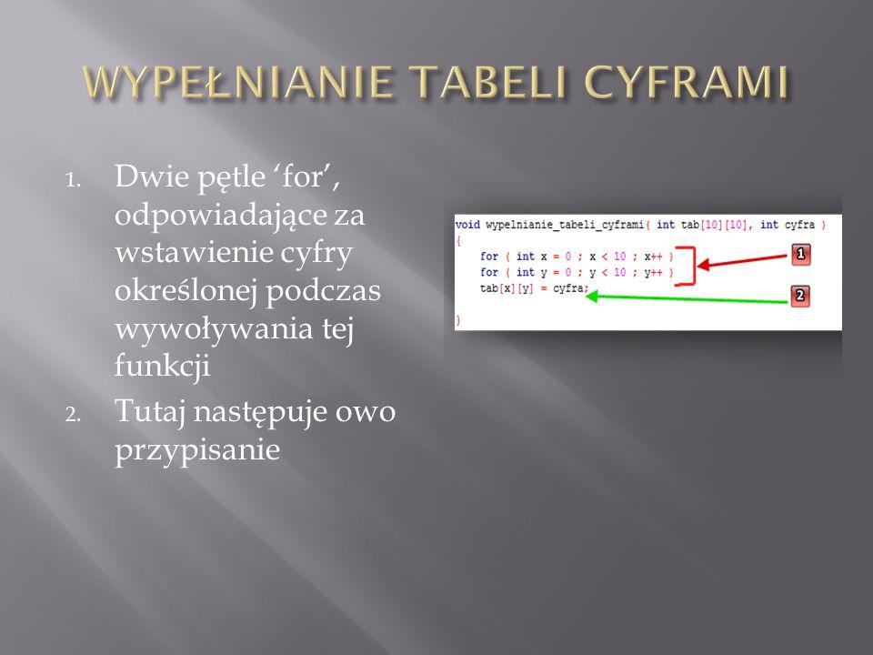 1. Dwie pętle 'for', odpowiadające za wstawienie cyfry określonej podczas wywoływania tej funkcji 2. Tutaj następuje owo przypisanie