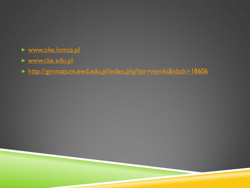  www.oke.lomza.pl www.oke.lomza.pl  www.cke.edu.pl www.cke.edu.pl  http://gimnazjum.ewd.edu.pl/index.php str=wyniki&idszk=18606 http://gimnazjum.ewd.edu.pl/index.php str=wyniki&idszk=18606