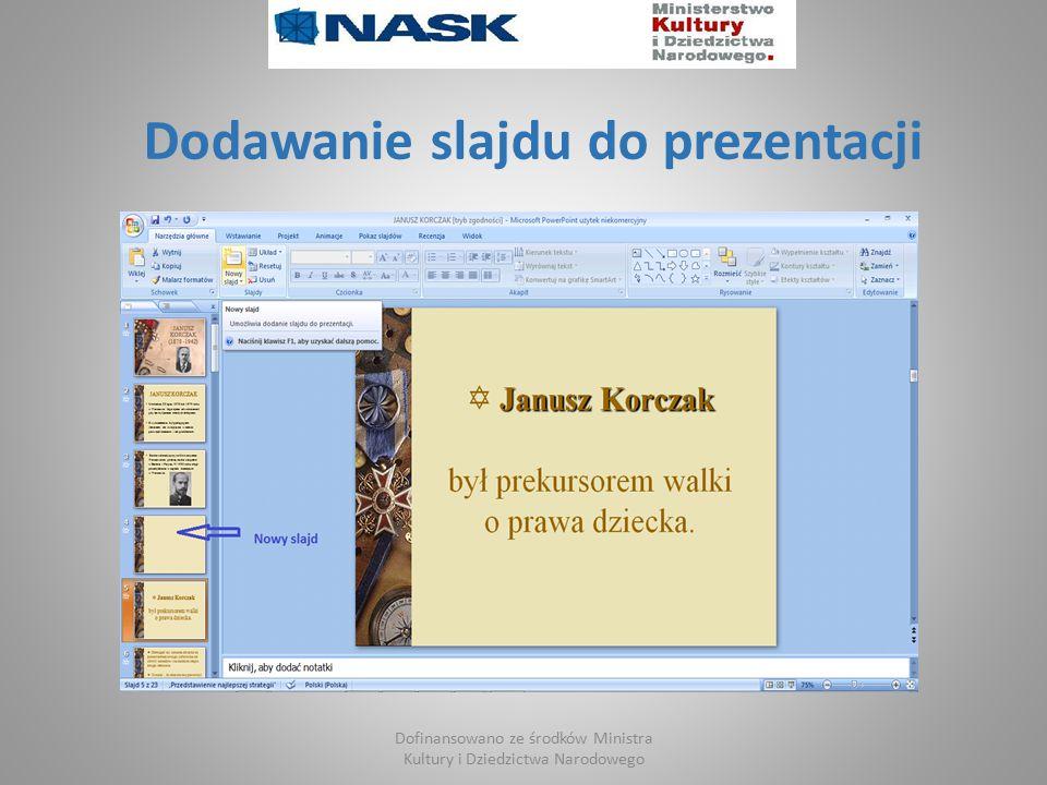 Dodawanie slajdu do prezentacji Dofinansowano ze środków Ministra Kultury i Dziedzictwa Narodowego