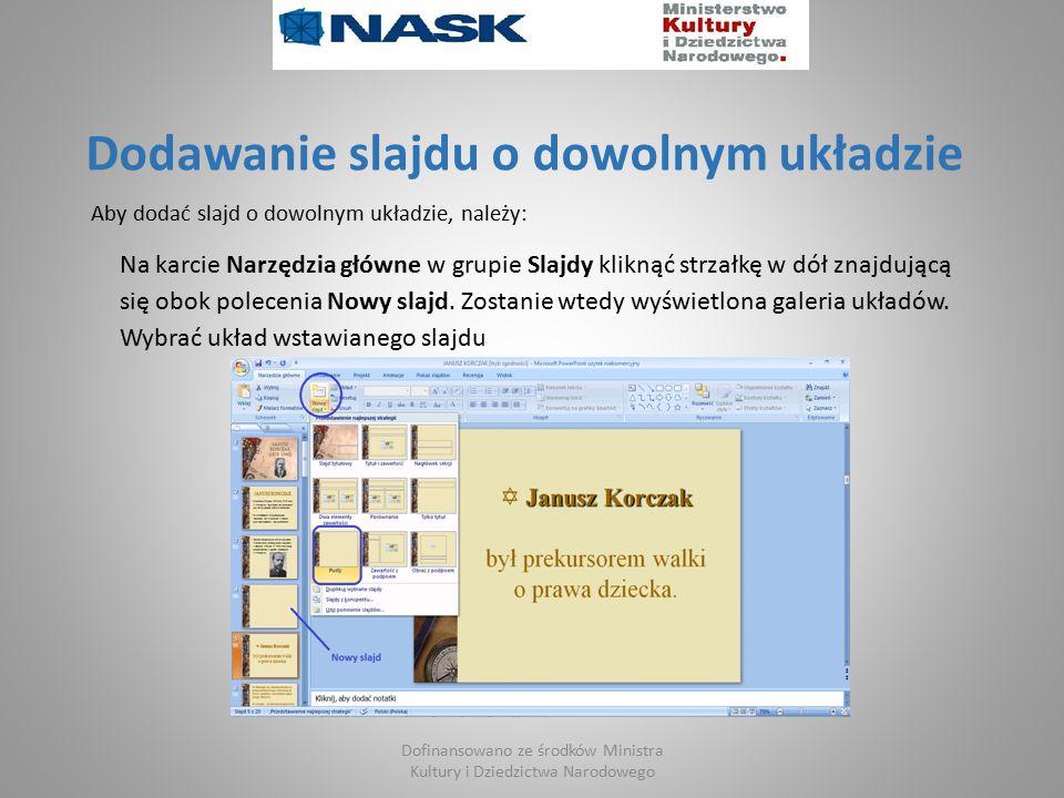 Dodawanie slajdu o dowolnym układzie Aby dodać slajd o dowolnym układzie, należy: Na karcie Narzędzia główne w grupie Slajdy kliknąć strzałkę w dół znajdującą się obok polecenia Nowy slajd.