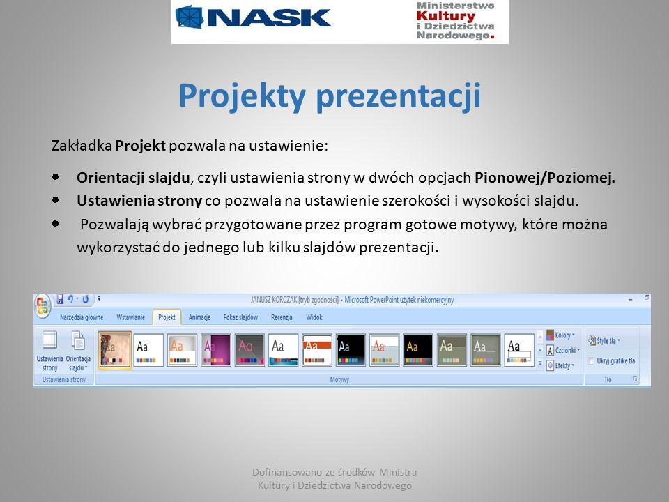 Projekty prezentacji Zakładka Projekt pozwala na ustawienie:  Orientacji slajdu, czyli ustawienia strony w dwóch opcjach Pionowej/Poziomej.