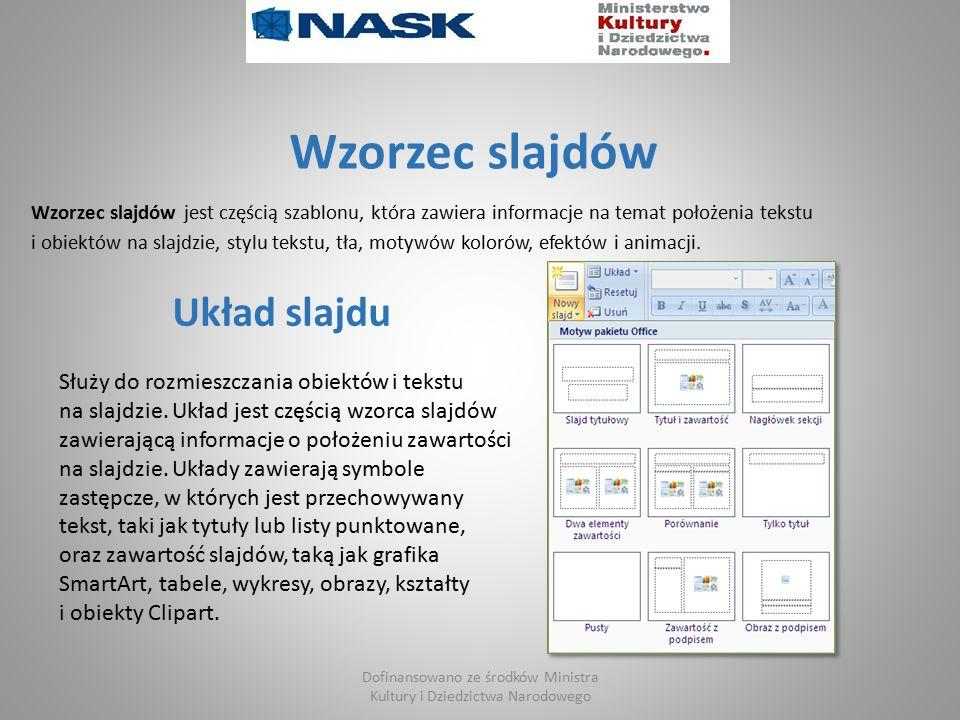 Wzorzec slajdów Wzorzec slajdów jest częścią szablonu, która zawiera informacje na temat położenia tekstu i obiektów na slajdzie, stylu tekstu, tła, motywów kolorów, efektów i animacji.