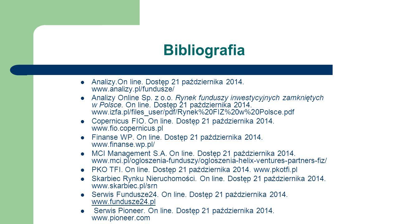 Bibliografia Analizy.On line. Dostęp 21 października 2014. www.analizy.pl/fundusze/ Analizy Online Sp. z o.o. Rynek funduszy inwestycyjnych zamkniętyc