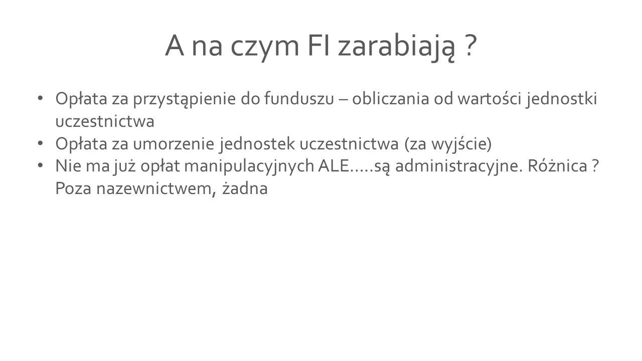 A na czym FI zarabiają ? Opłata za przystąpienie do funduszu – obliczania od wartości jednostki uczestnictwa Opłata za umorzenie jednostek uczestnictw