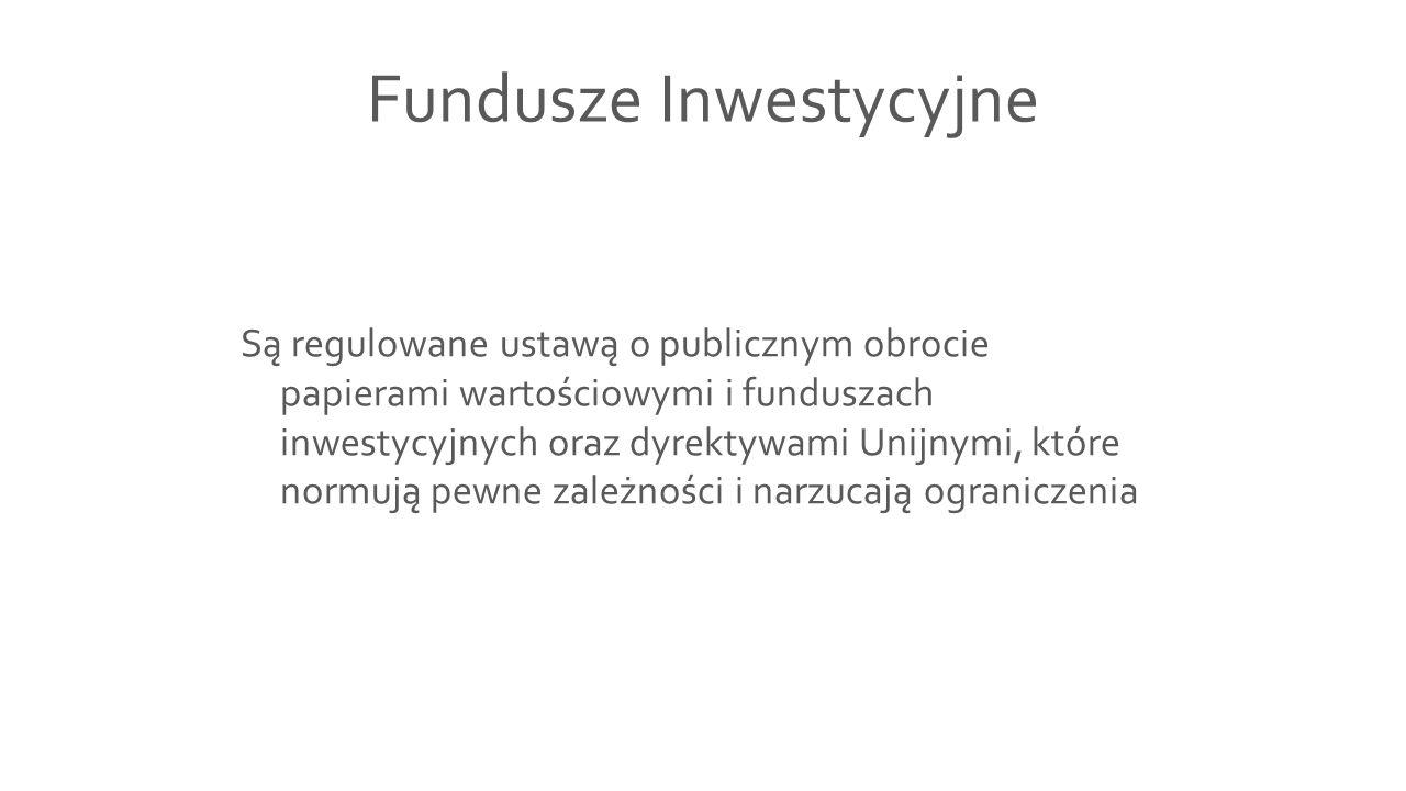 Fundusze Inwestycyjne Są regulowane ustawą o publicznym obrocie papierami wartościowymi i funduszach inwestycyjnych oraz dyrektywami Unijnymi, które n
