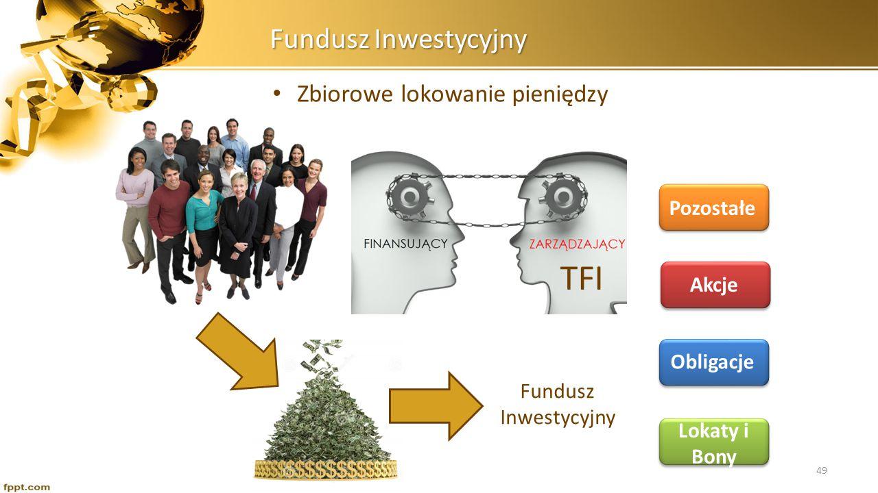 Fundusz Inwestycyjny Zbiorowe lokowanie pieniędzy Fundusz Inwestycyjny TFI Lokaty i Bony Obligacje Akcje Pozostałe 49