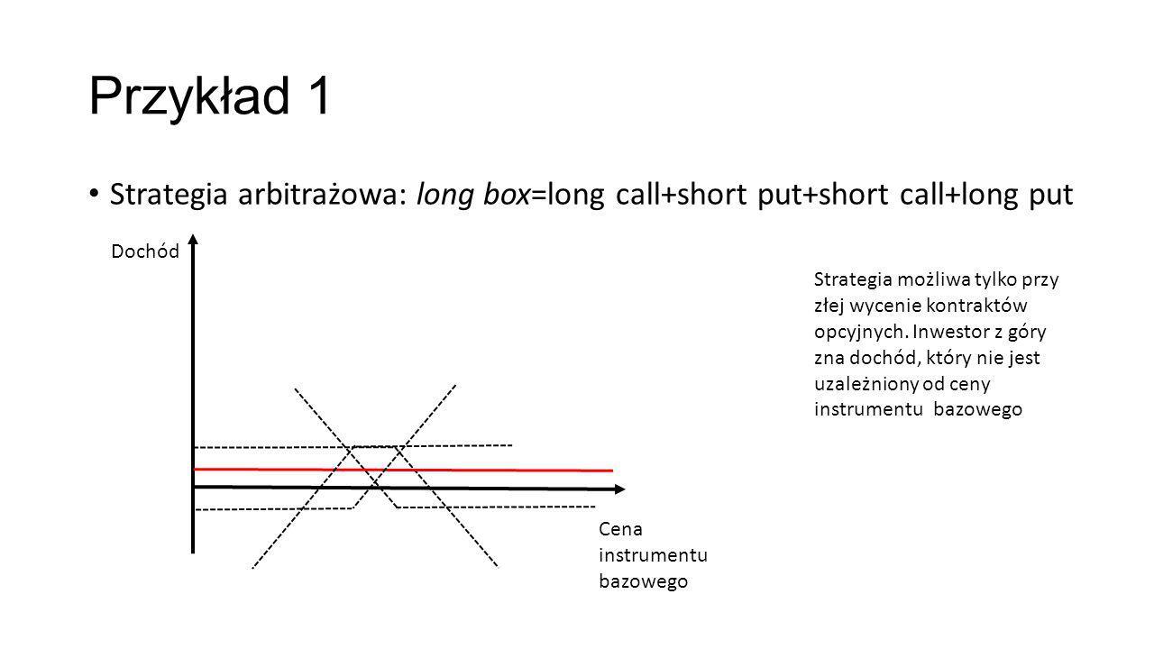 Przykład 1 Strategia arbitrażowa: long box=long call+short put+short call+long put Dochód Cena instrumentu bazowego Strategia możliwa tylko przy złej wycenie kontraktów opcyjnych.