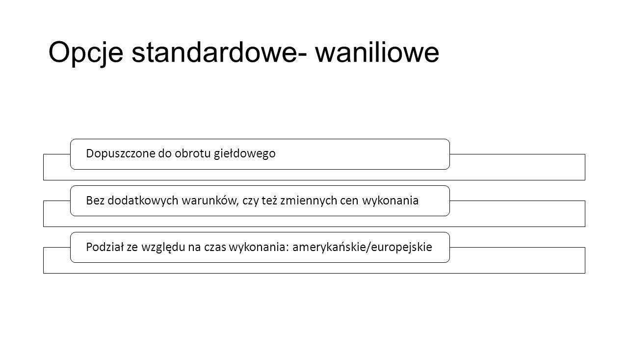 Opcje standardowe- waniliowe Dopuszczone do obrotu giełdowego Bez dodatkowych warunków, czy też zmiennych cen wykonania Podział ze względu na czas wykonania: amerykańskie/europejskie