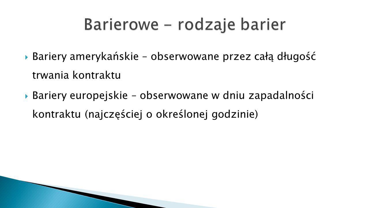  Bariery amerykańskie – obserwowane przez całą długość trwania kontraktu  Bariery europejskie – obserwowane w dniu zapadalności kontraktu (najczęściej o określonej godzinie)