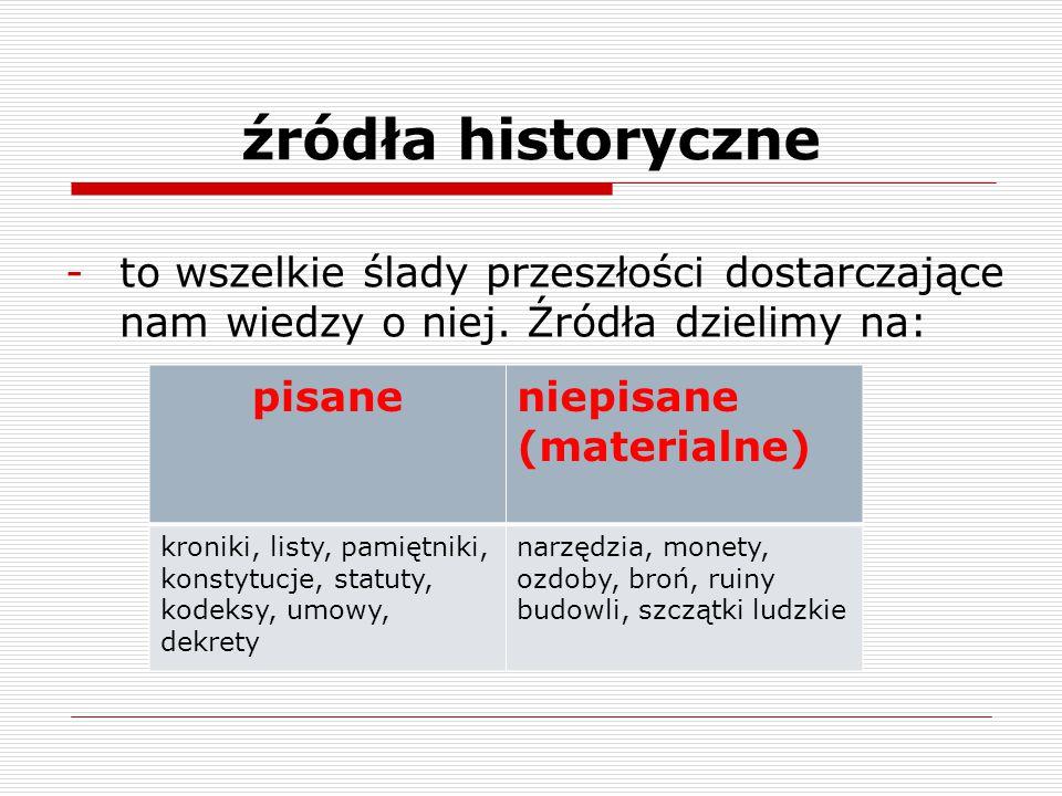 źródła historyczne -to wszelkie ślady przeszłości dostarczające nam wiedzy o niej. Źródła dzielimy na: pisaneniepisane (materialne) kroniki, listy, pa