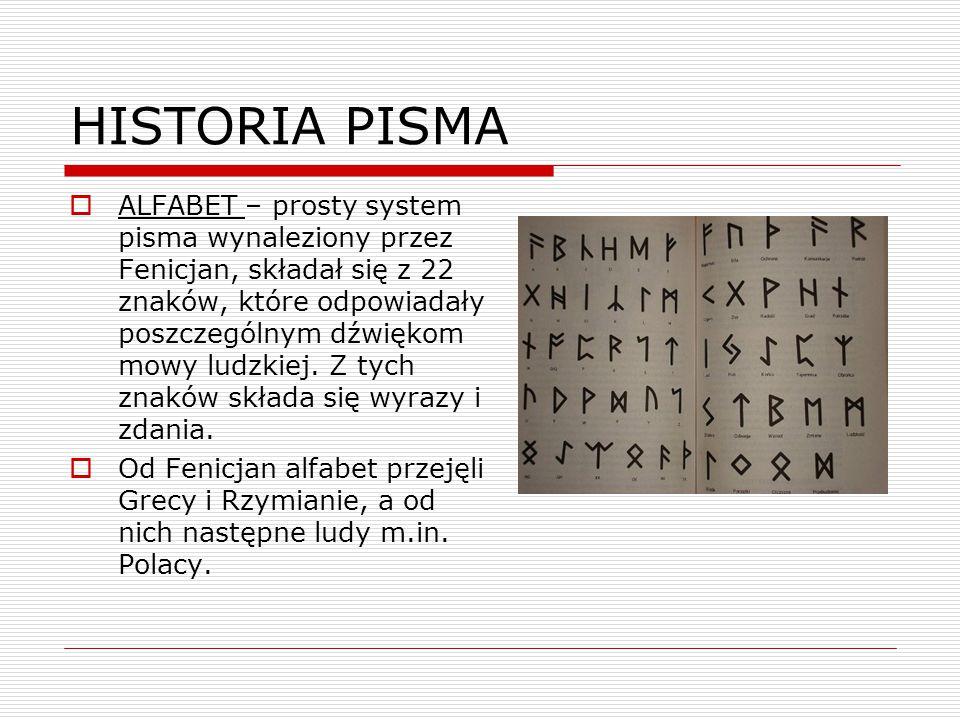 HISTORIA PISMA  ALFABET – prosty system pisma wynaleziony przez Fenicjan, składał się z 22 znaków, które odpowiadały poszczególnym dźwiękom mowy ludz
