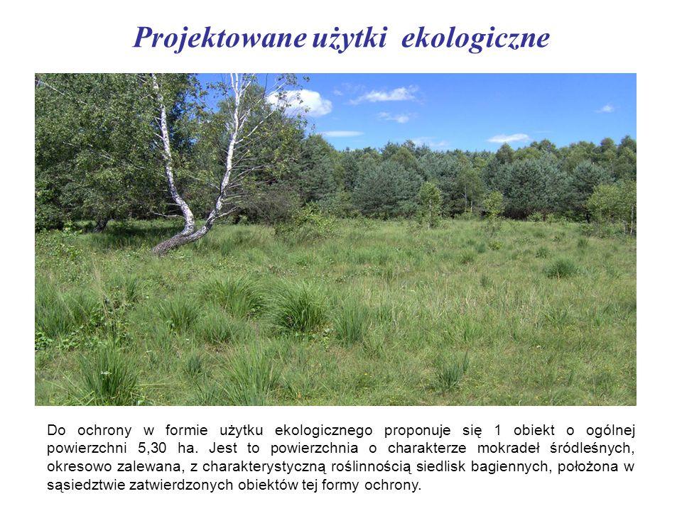 Projektowane użytki ekologiczne Do ochrony w formie użytku ekologicznego proponuje się 1 obiekt o ogólnej powierzchni 5,30 ha. Jest to powierzchnia o