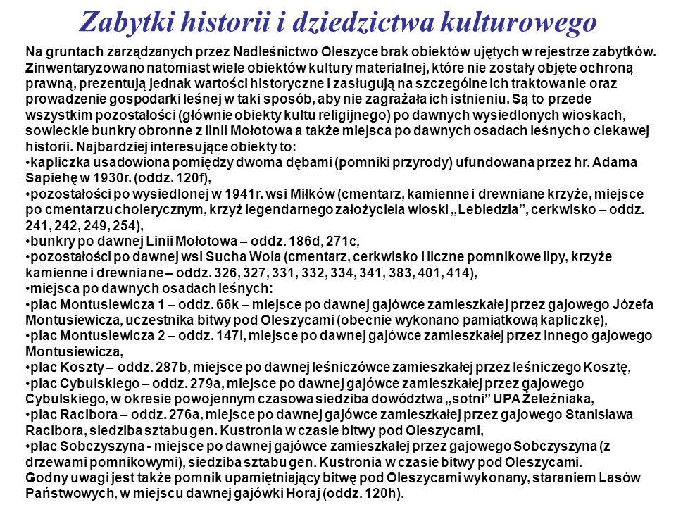 Zabytki historii i dziedzictwa kulturowego Na gruntach zarządzanych przez Nadleśnictwo Oleszyce brak obiektów ujętych w rejestrze zabytków. Zinwentary
