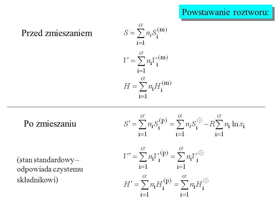 Powstawanie roztworu: Przed zmieszaniem Po zmieszaniu (stan standardowy – odpowiada czystemu składnikowi)