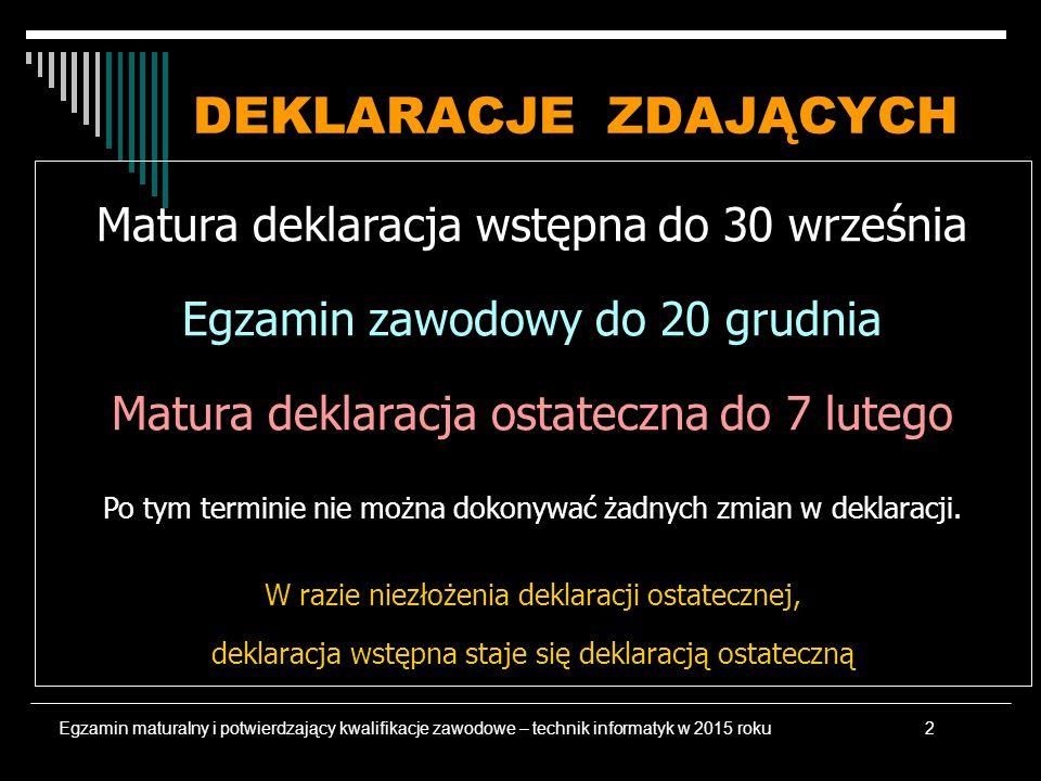 DEKLARACJE ZDAJĄCYCH Matura deklaracja wstępna do 30 września Egzamin zawodowy do 20 grudnia Matura deklaracja ostateczna do 7 lutego Po tym terminie nie można dokonywać żadnych zmian w deklaracji.