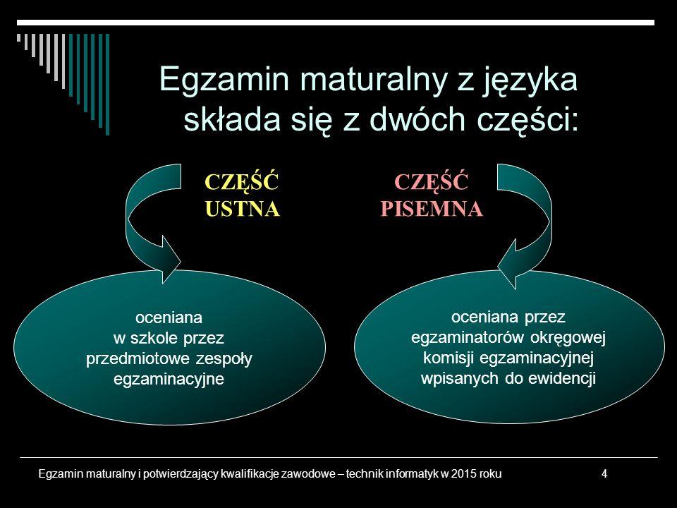 Egzamin maturalny z języka składa się z dwóch części: oceniana przez egzaminatorów okręgowej komisji egzaminacyjnej wpisanych do ewidencji oceniana w