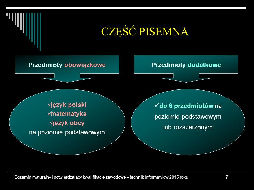język polski matematyka język obcy na poziomie podstawowym do 6 przedmiotów na poziomie podstawowym lub rozszerzonym CZĘŚĆ PISEMNA Przedmioty obowiązk