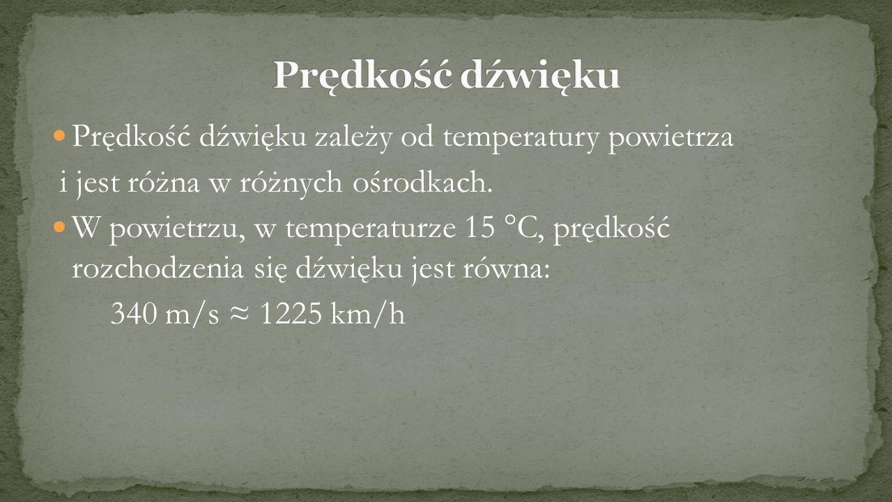 Prędkość dźwięku zależy od temperatury powietrza i jest różna w różnych ośrodkach. W powietrzu, w temperaturze 15 °C, prędkość rozchodzenia się dźwięk