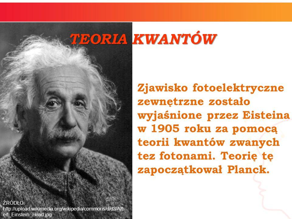 Zjawisko fotoelektryczne zewnętrzne zostało wyjaśnione przez Eisteina w 1905 roku za pomocą teorii kwantów zwanych tez fotonami. Teorię tę zapoczątkow