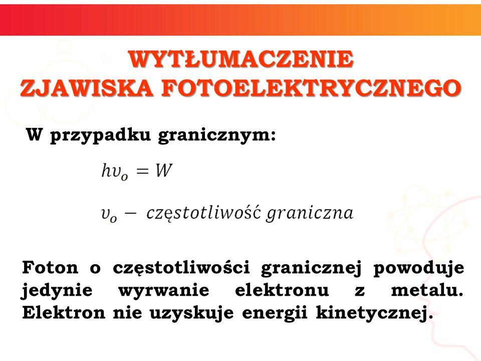 W przypadku granicznym: WYTŁUMACZENIE ZJAWISKA FOTOELEKTRYCZNEGO Foton o częstotliwości granicznej powoduje jedynie wyrwanie elektronu z metalu. Elekt