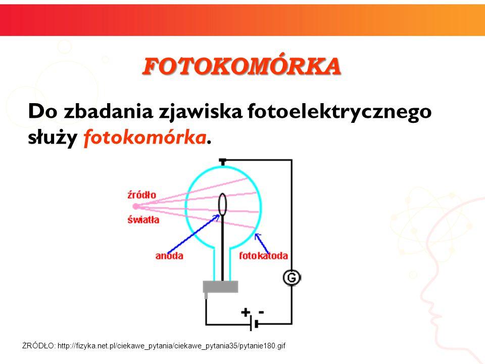 Do zbadania zjawiska fotoelektrycznego służy fotokomórka. ŻRÓDŁO: http://fizyka.net.pl/ciekawe_pytania/ciekawe_pytania35/pytanie180.gif FOTOKOMÓRKA