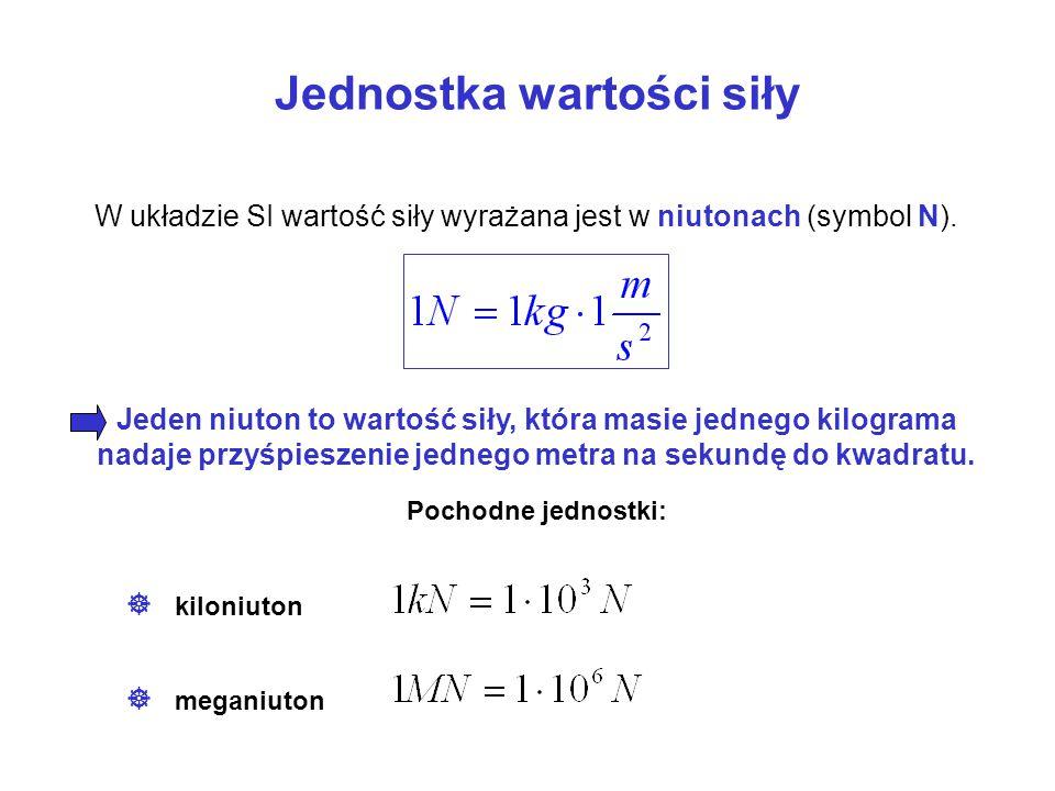 Jednostka wartości siły W układzie SI wartość siły wyrażana jest w niutonach (symbol N).