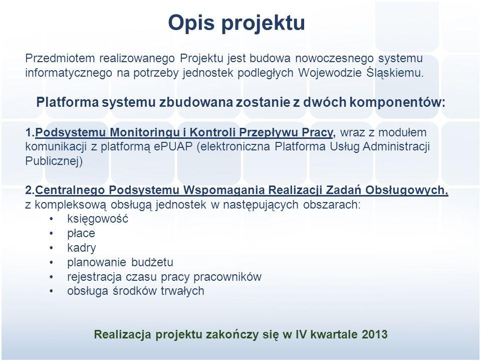 Opis projektu Przedmiotem realizowanego Projektu jest budowa nowoczesnego systemu informatycznego na potrzeby jednostek podległych Wojewodzie Śląskiemu.