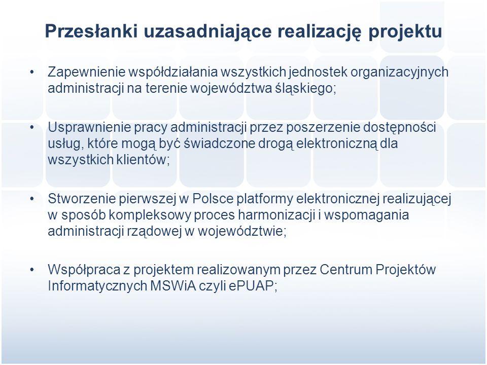 Przesłanki uzasadniające realizację projektu Zapewnienie współdziałania wszystkich jednostek organizacyjnych administracji na terenie województwa śląskiego; Usprawnienie pracy administracji przez poszerzenie dostępności usług, które mogą być świadczone drogą elektroniczną dla wszystkich klientów; Stworzenie pierwszej w Polsce platformy elektronicznej realizującej w sposób kompleksowy proces harmonizacji i wspomagania administracji rządowej w województwie; Współpraca z projektem realizowanym przez Centrum Projektów Informatycznych MSWiA czyli ePUAP;