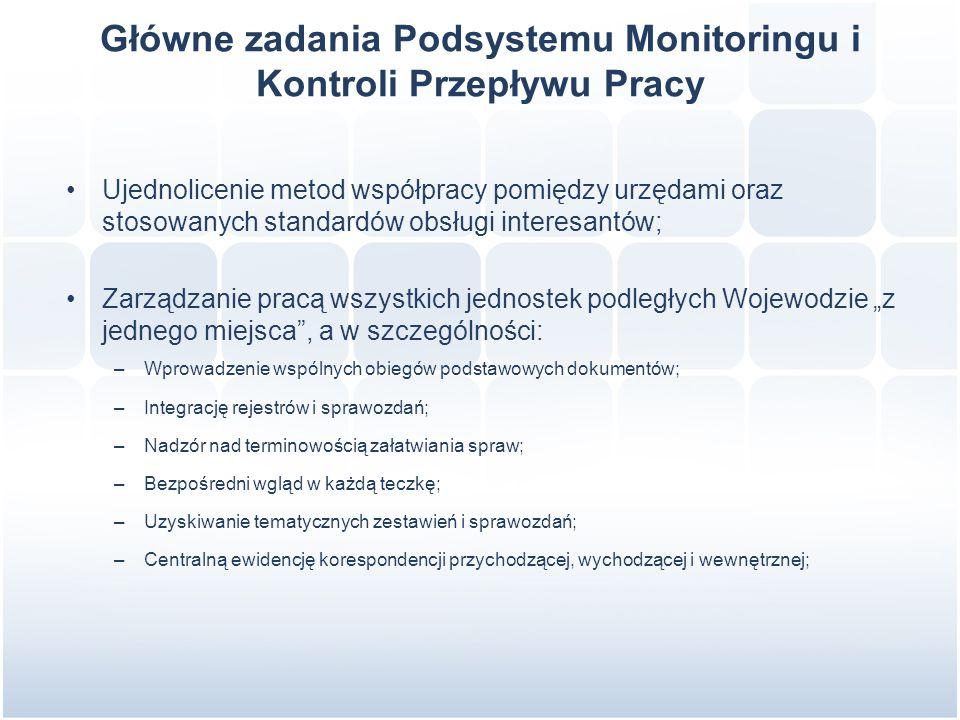 """Główne zadania Podsystemu Monitoringu i Kontroli Przepływu Pracy Ujednolicenie metod współpracy pomiędzy urzędami oraz stosowanych standardów obsługi interesantów; Zarządzanie pracą wszystkich jednostek podległych Wojewodzie """"z jednego miejsca , a w szczególności: –Wprowadzenie wspólnych obiegów podstawowych dokumentów; –Integrację rejestrów i sprawozdań; –Nadzór nad terminowością załatwiania spraw; –Bezpośredni wgląd w każdą teczkę; –Uzyskiwanie tematycznych zestawień i sprawozdań; –Centralną ewidencję korespondencji przychodzącej, wychodzącej i wewnętrznej;"""