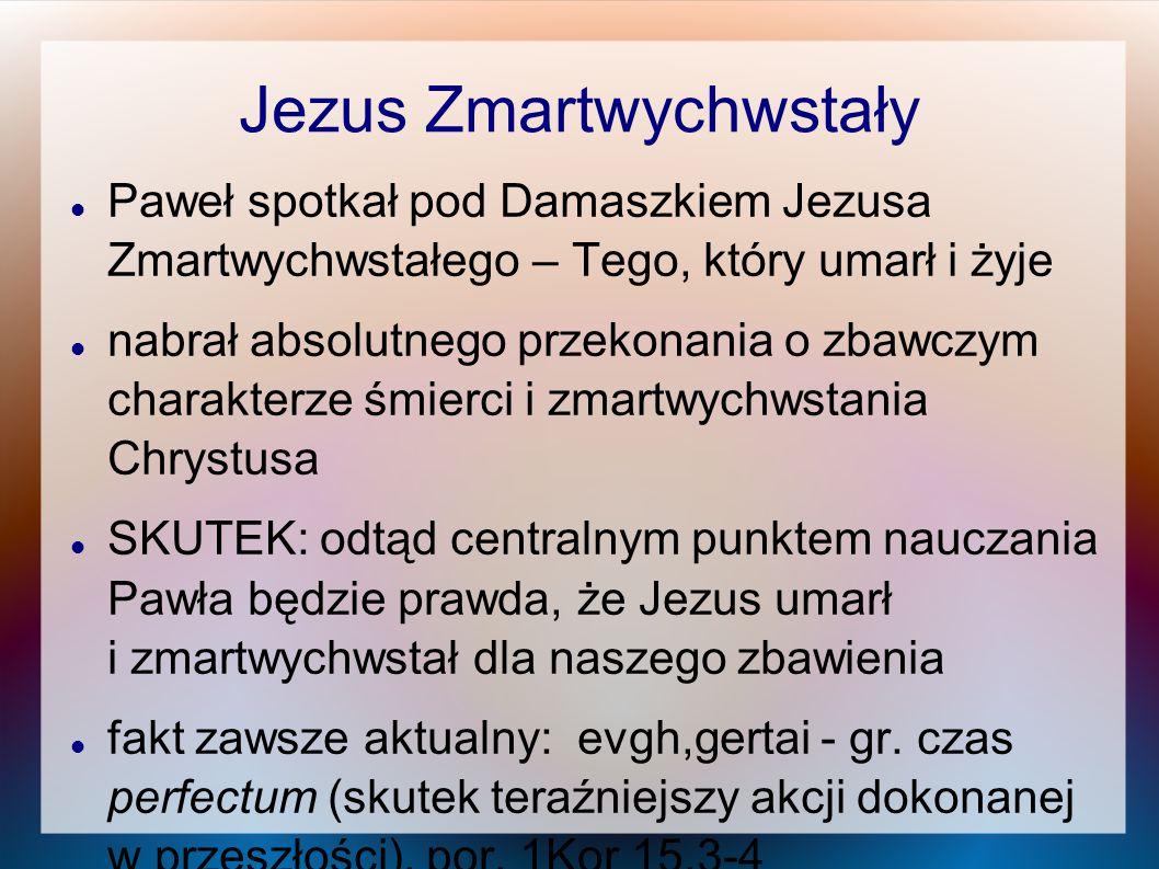 Jezus Zmartwychwstały Paweł spotkał pod Damaszkiem Jezusa Zmartwychwstałego – Tego, który umarł i żyje nabrał absolutnego przekonania o zbawczym chara