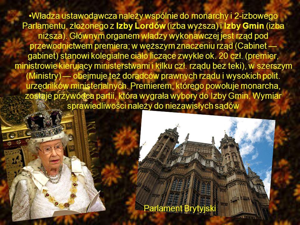 Władza ustawodawcza należy wspólnie do monarchy i 2-izbowego Parlamentu, złożonego z Izby Lordów (izba wyższa) i Izby Gmin (izba niższa). Głównym orga