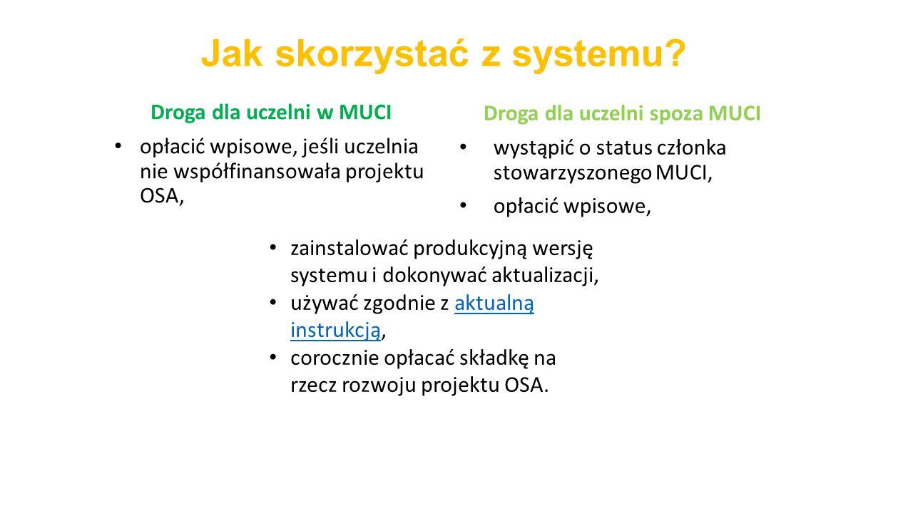 Jak skorzystać z systemu? Droga dla uczelni spoza MUCI wystąpić o status członka stowarzyszonego MUCI, opłacić wpisowe, Droga dla uczelni w MUCI opłac