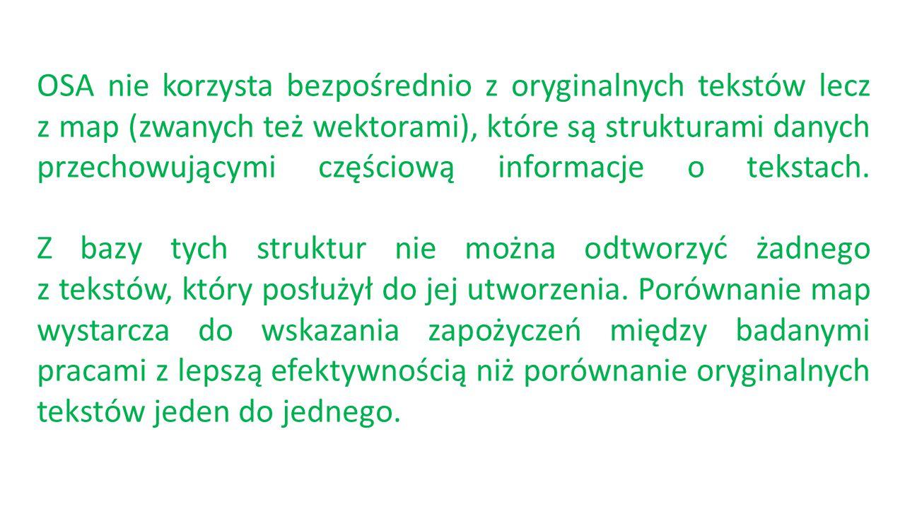 OSA nie korzysta bezpośrednio z oryginalnych tekstów lecz z map (zwanych też wektorami), które są strukturami danych przechowującymi częściową informa