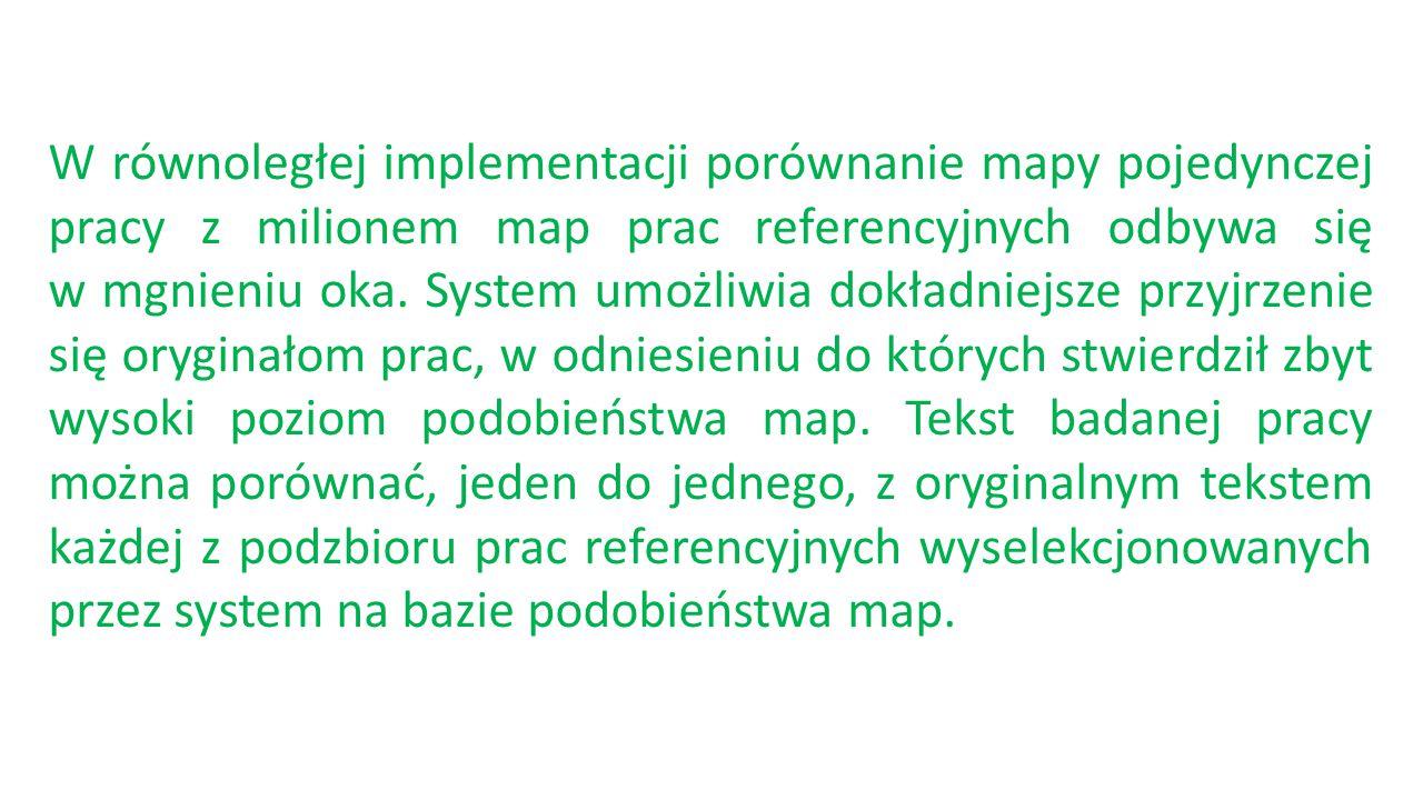 W równoległej implementacji porównanie mapy pojedynczej pracy z milionem map prac referencyjnych odbywa się w mgnieniu oka. System umożliwia dokładnie