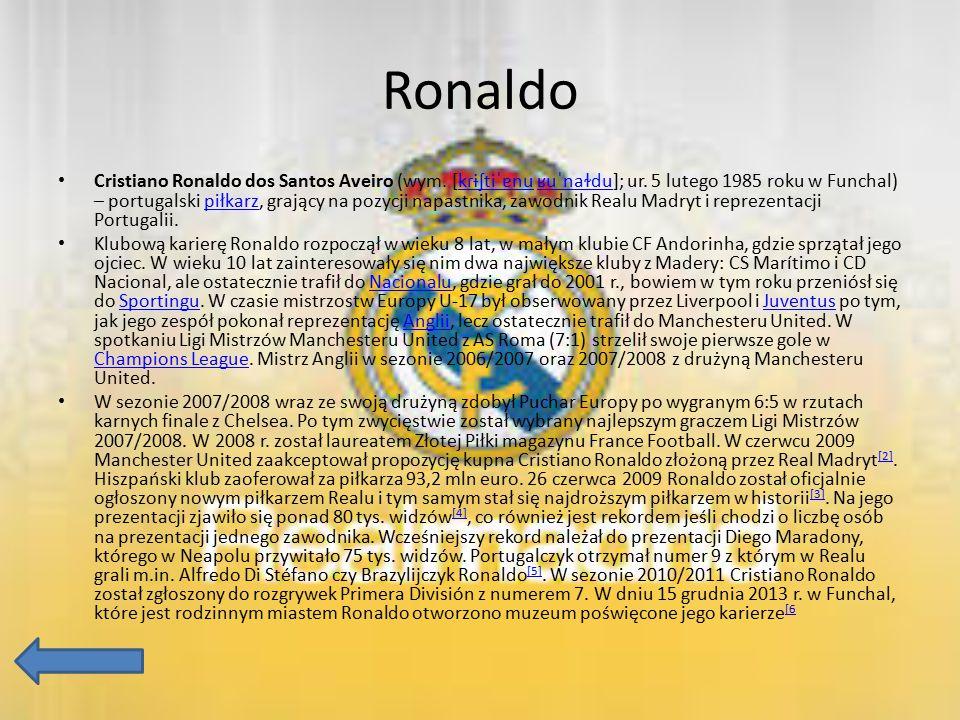Ronaldo Cristiano Ronaldo dos Santos Aveiro (wym. [kɾɨʃtiˈɐnu ʁuˈnaɫdu]; ur. 5 lutego 1985 roku w Funchal) – portugalski piłkarz, grający na pozycji n