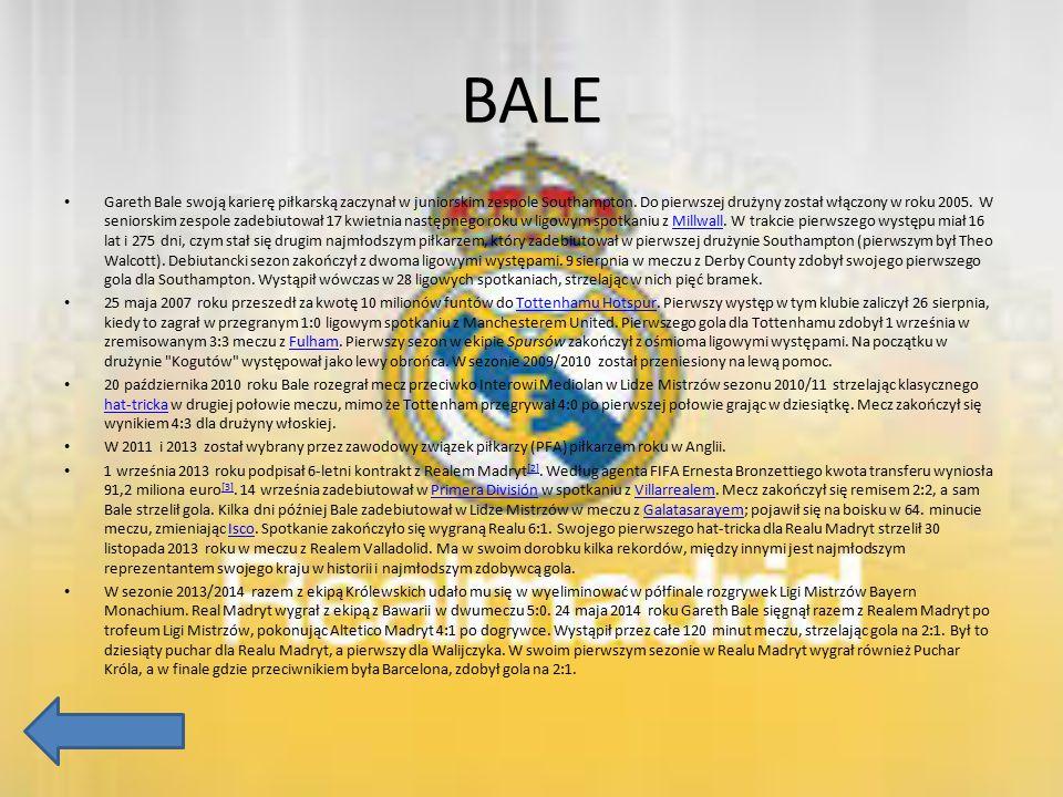 BALE Gareth Bale swoją karierę piłkarską zaczynał w juniorskim zespole Southampton. Do pierwszej drużyny został włączony w roku 2005. W seniorskim zes
