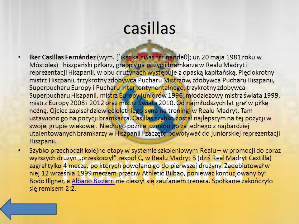 casillas Iker Casillas Fernández (wym. [ˈikɛɾ kaˈsiʎas fɛɾˈnandeθ]; ur. 20 maja 1981 roku w Móstoles)– hiszpański piłkarz, grający na pozycji bramkarz