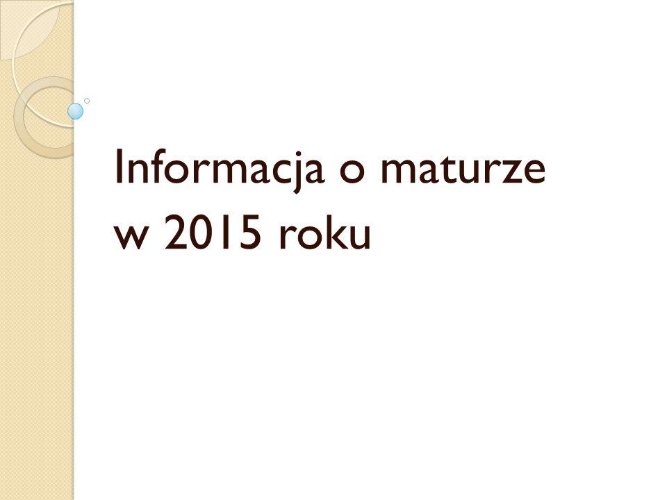 Informacja o maturze w 2015 roku