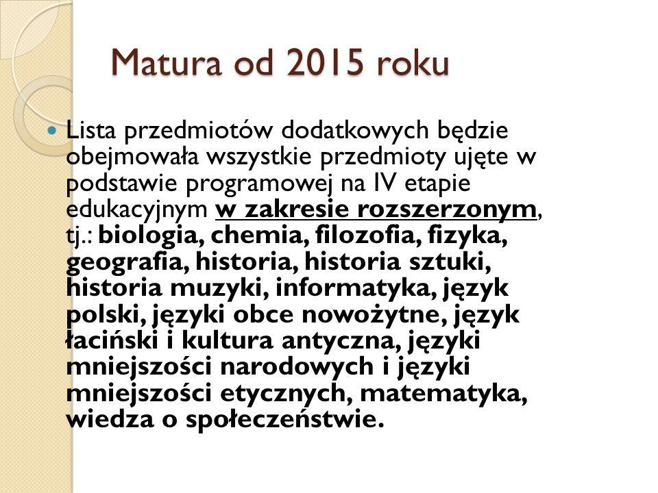 Matura od 2015 roku Lista przedmiotów dodatkowych będzie obejmowała wszystkie przedmioty ujęte w podstawie programowej na IV etapie edukacyjnym w zakr