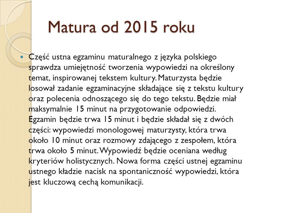 Matura od 2015 roku Część ustna egzaminu maturalnego z języka polskiego sprawdza umiejętność tworzenia wypowiedzi na określony temat, inspirowanej tek