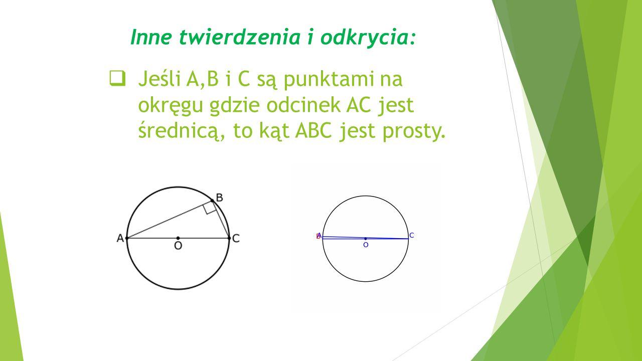  Jeśli A,B i C są punktami na okręgu gdzie odcinek AC jest średnicą, to kąt ABC jest prosty.
