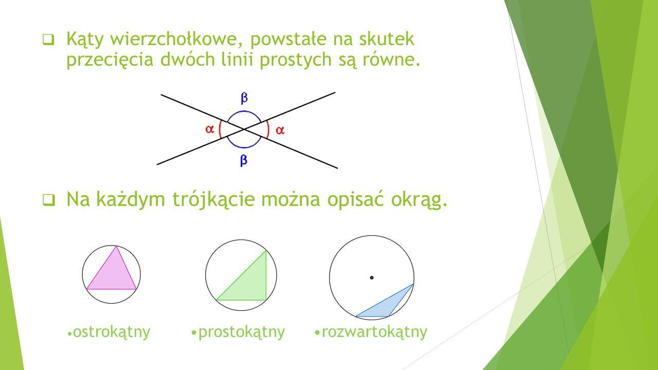  Kąty wierzchołkowe, powstałe na skutek przecięcia dwóch linii prostych są równe.