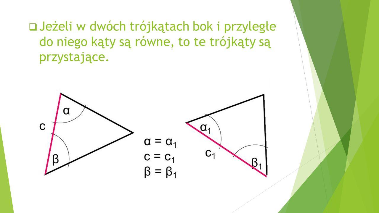  Kąty wierzchołkowe, powstałe na skutek przecięcia dwóch linii prostych są równe.  Na każdym trójkącie można opisać okrąg. ostrokątnyprostokątnyrozw